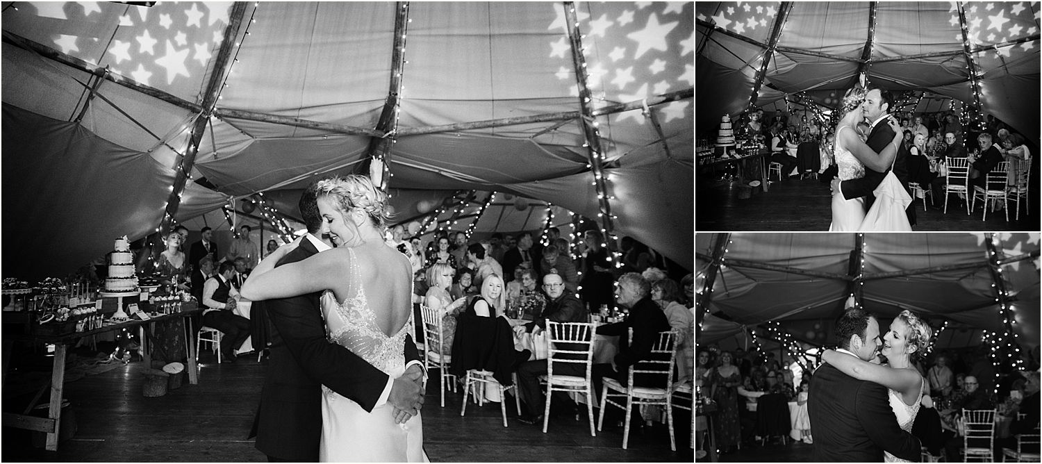 First dance at Lancashire farm wedding. Tipi by Betty's Tipis, Dj DBD Entertainment