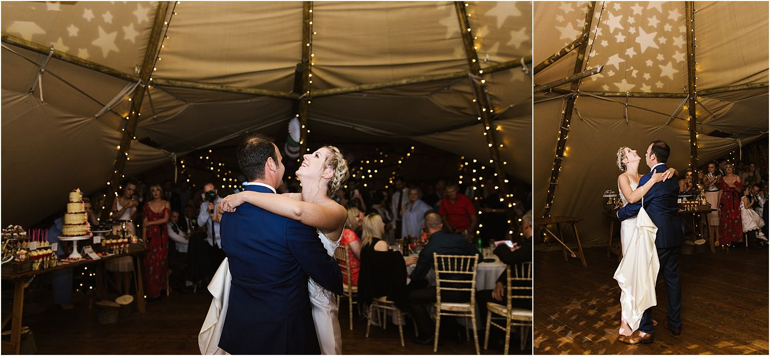 First dance in colour from rural Lancashire farm wedding. Tipi by Betty's Tipis of Chorley, Lancashire