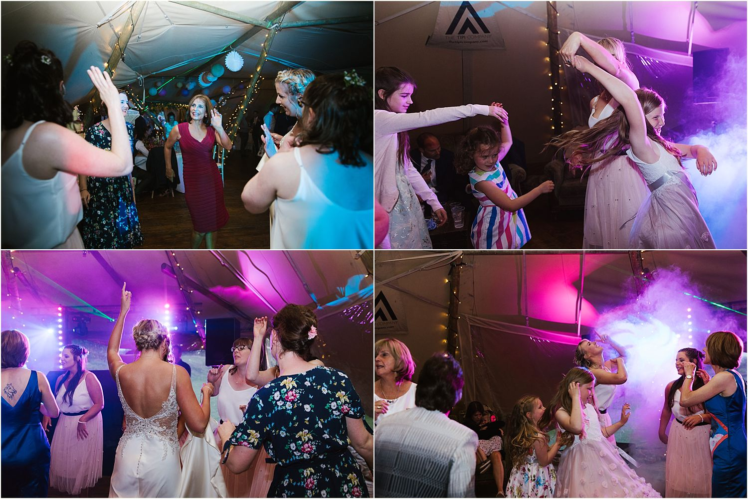 Guests dancing to disco by DBD Entertainment at rural Lancashire Farm wedding