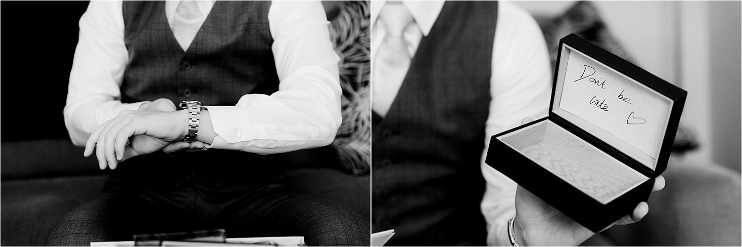 Bridegroom puts on his new watch, with 'dont be late' message at Cheshire wedding venue, Sandhole Oak Barn