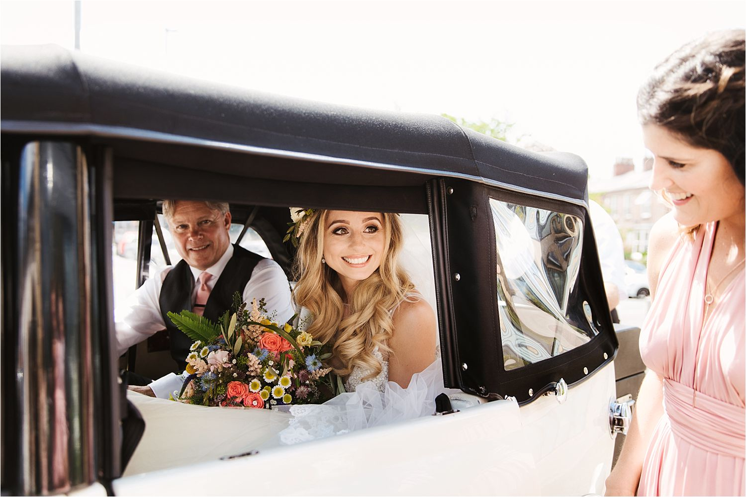 Bride and her father arrive at Congleton wedding venue Sandhole Oak Barn, Cheshire
