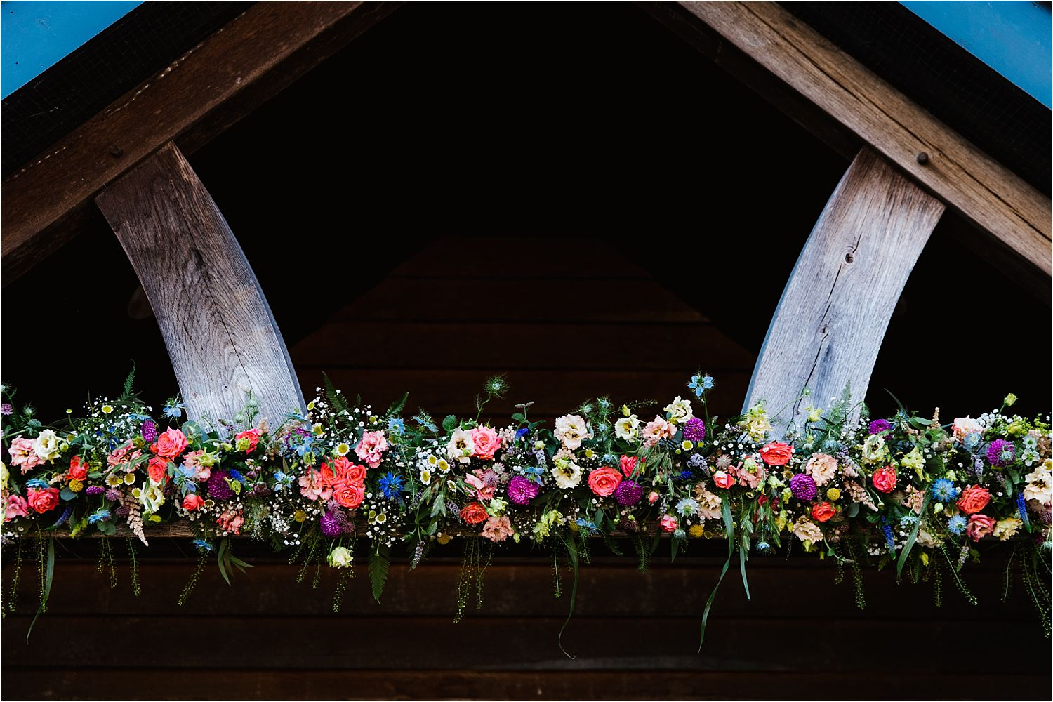 Floral artistry by Green Earth Flowers at Sandhole Oak Barn wedding venue, Congleton.