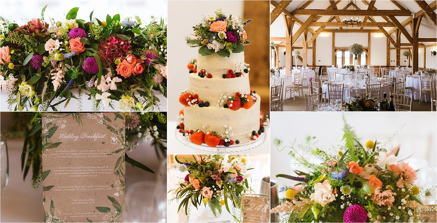 Details of room layout at Sandhole Oak Barn, Floral displays by Green Earth Flowers and wedding cake by Dish and Spoon of Didsbury Manchester, Stationery by Rebecca Bright