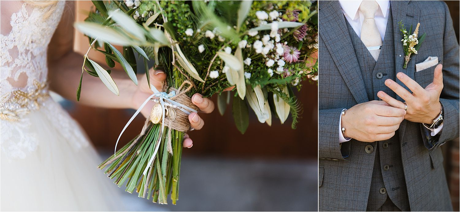 Cheshire wedding floral details, buttonhole and bridal bouquet by Green Earth Flowers of Poynton, Cheshire