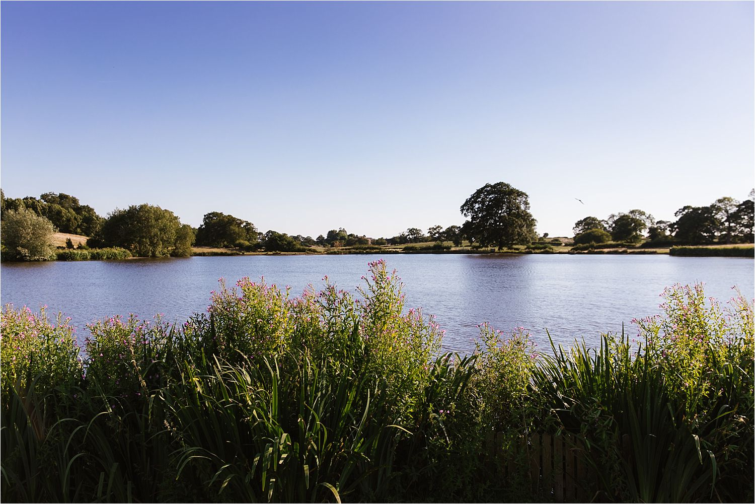 View of lake at Sandhole Oak Barn wedding venue in Cheshire
