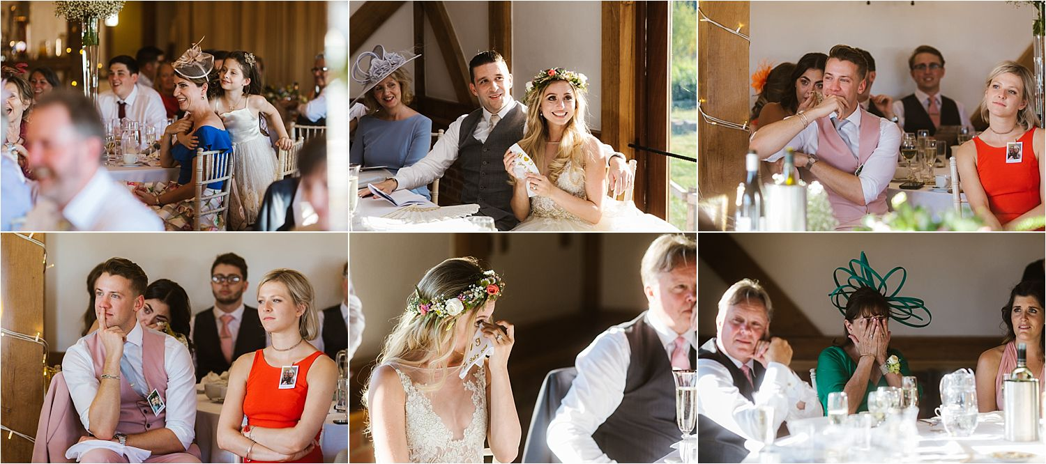 Guest's reactions to speeches at Cheshire wedding, Sandhole Oak Barn