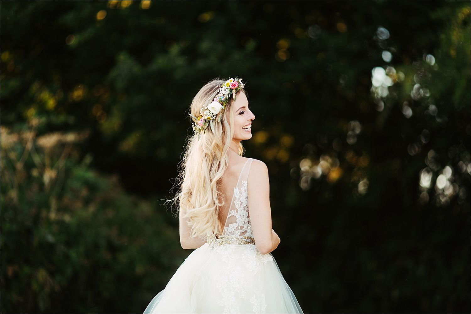 Bride wearing xxxx Wedding dress, floral headress by Green Earth Flowers of Cheshire. Dress by Lazarro