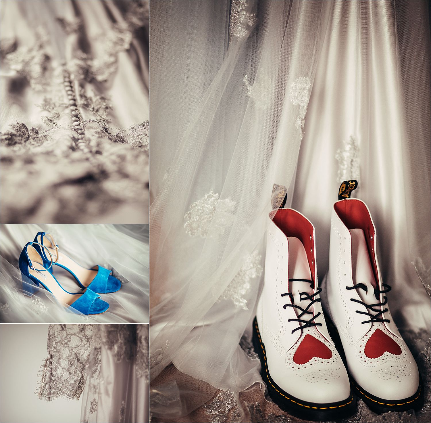 Shoes and wedding dress details for Tipi wedding. Dress by Soon Bride