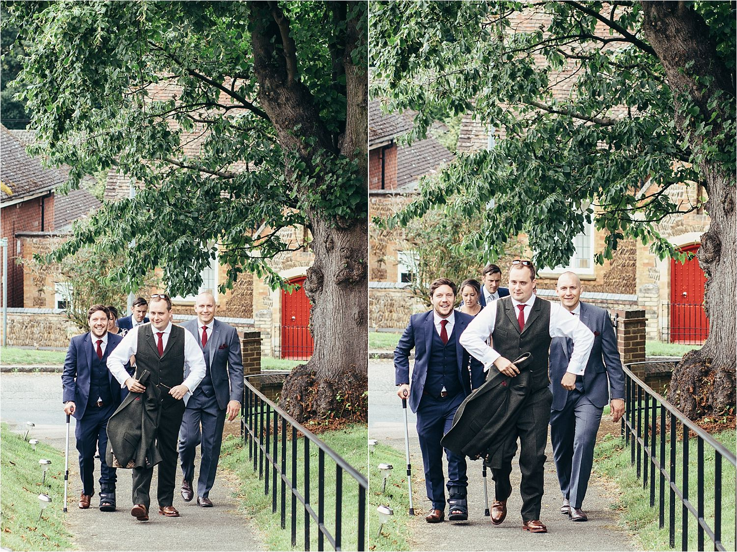 Groom and his attendants walk to church for Bedfordshire wedding