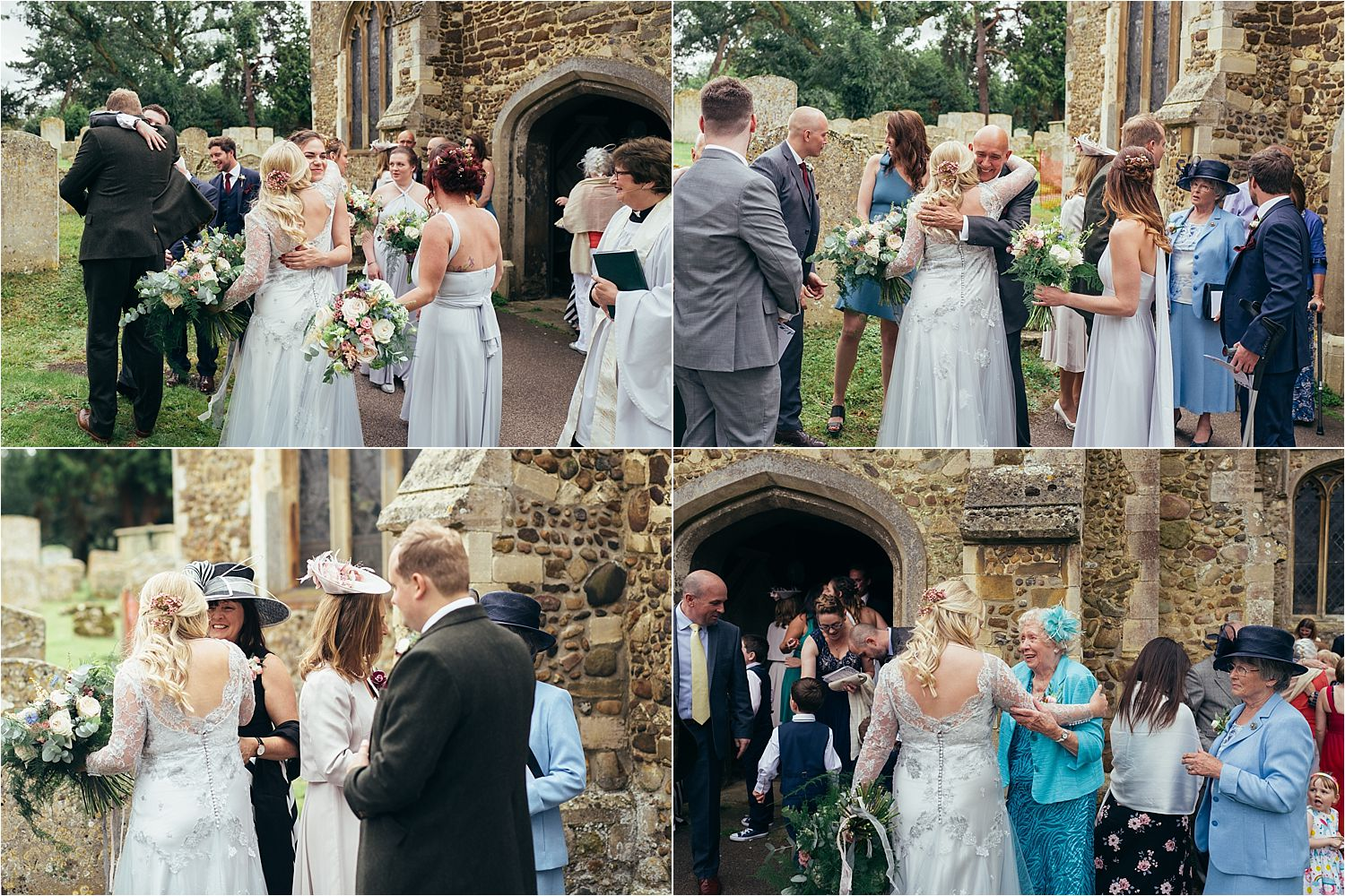 Bride and groom greet guests outside church after Bedfordshire wedding