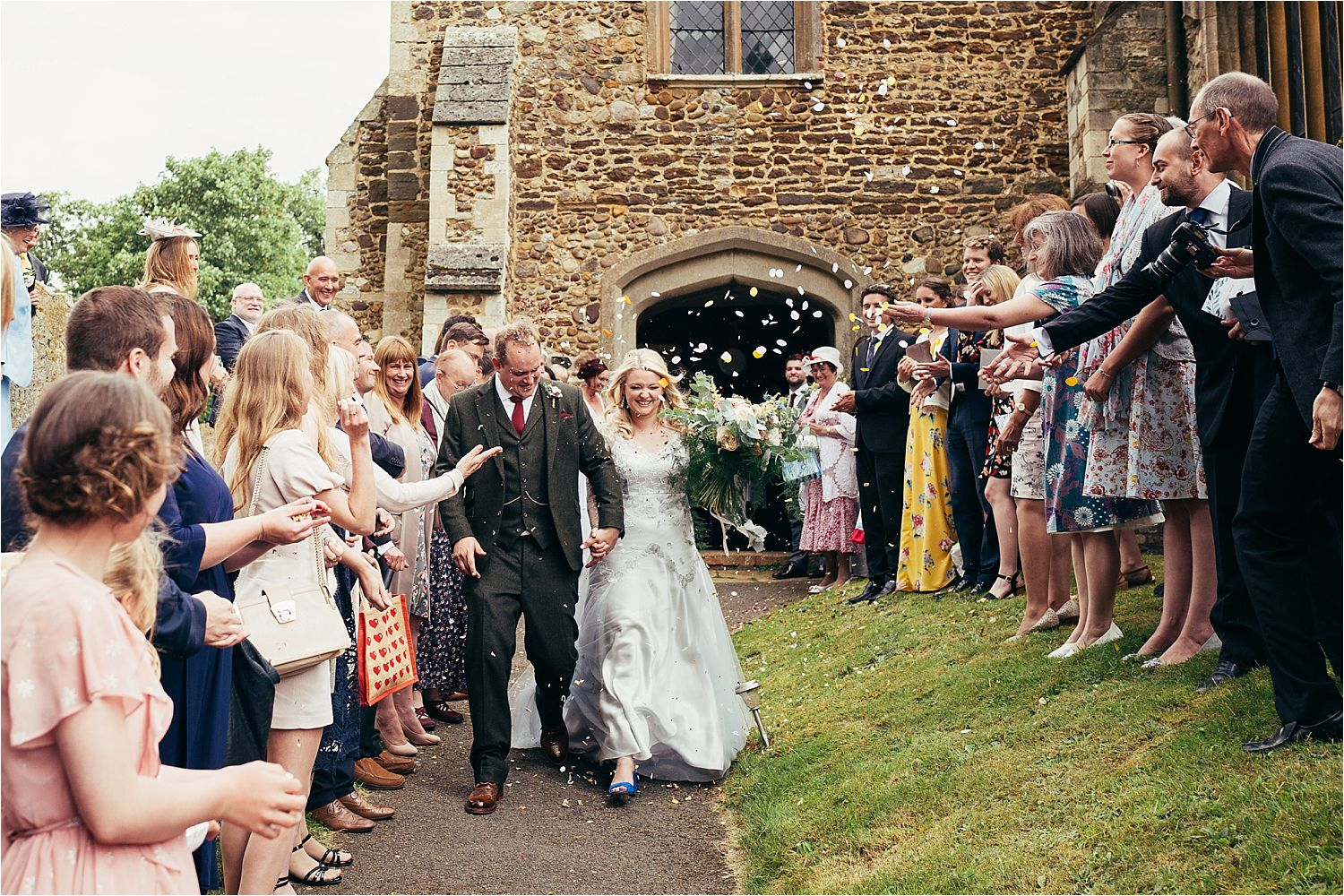 Confetti being throw at wedding in Bedfordshire