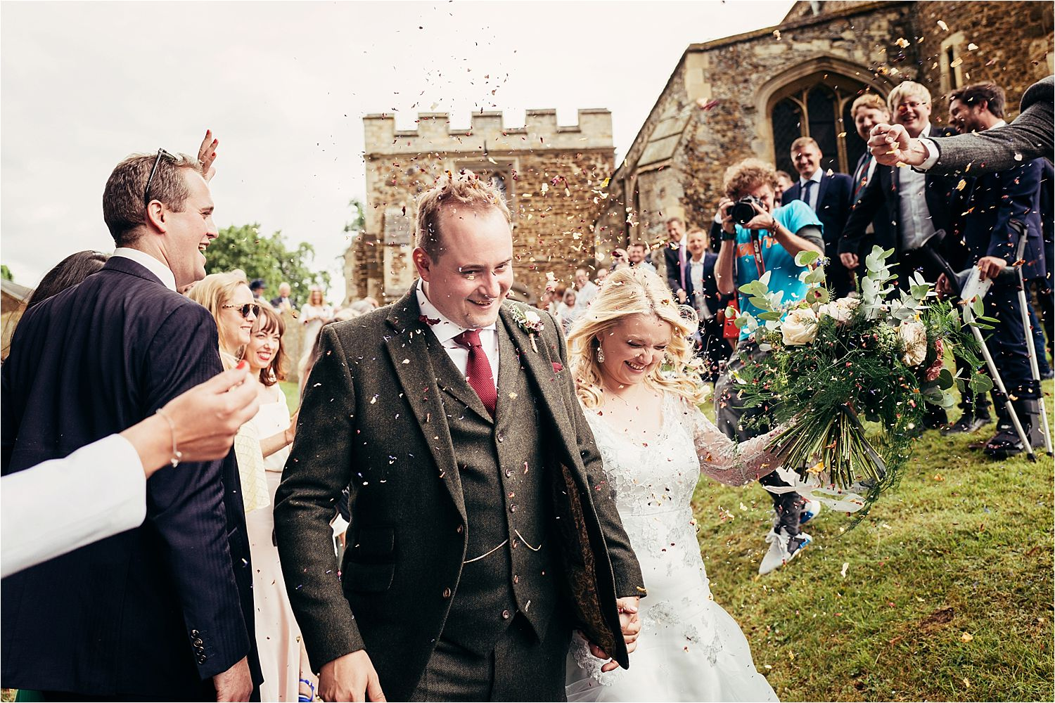Confetti shower at Bedfordshire wedding