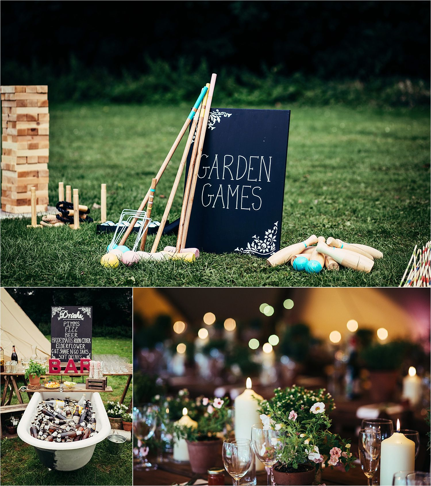 Garden games and deatils of bar and flowers at Bedfordhsire tipi wedding. Bar by Tipple and Toast