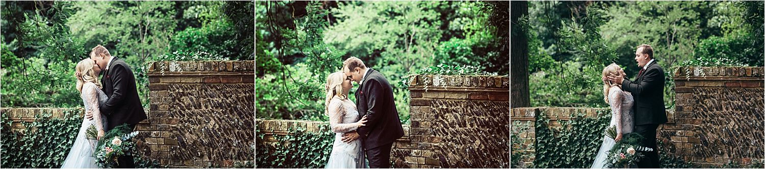 Selection of kissing shots of bride and groom at Bedfordshire wedding