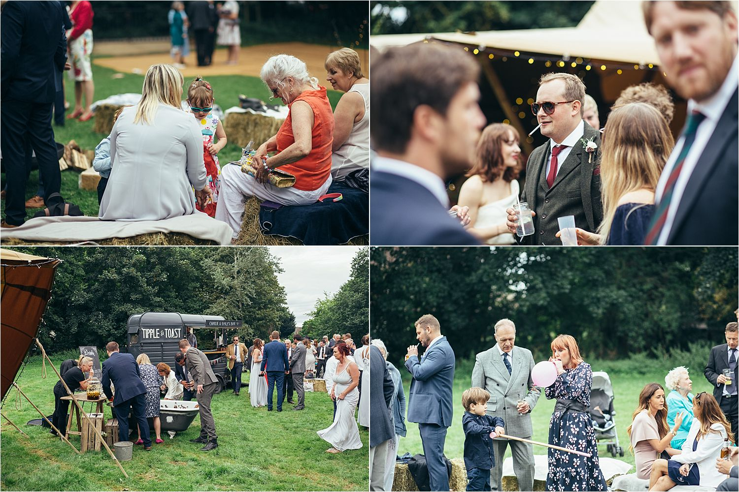 Guests relax and enjoy wedding reception at tipi wedding in Bedfordshire, tipi by Country tipis, bar by Tipple and Toast