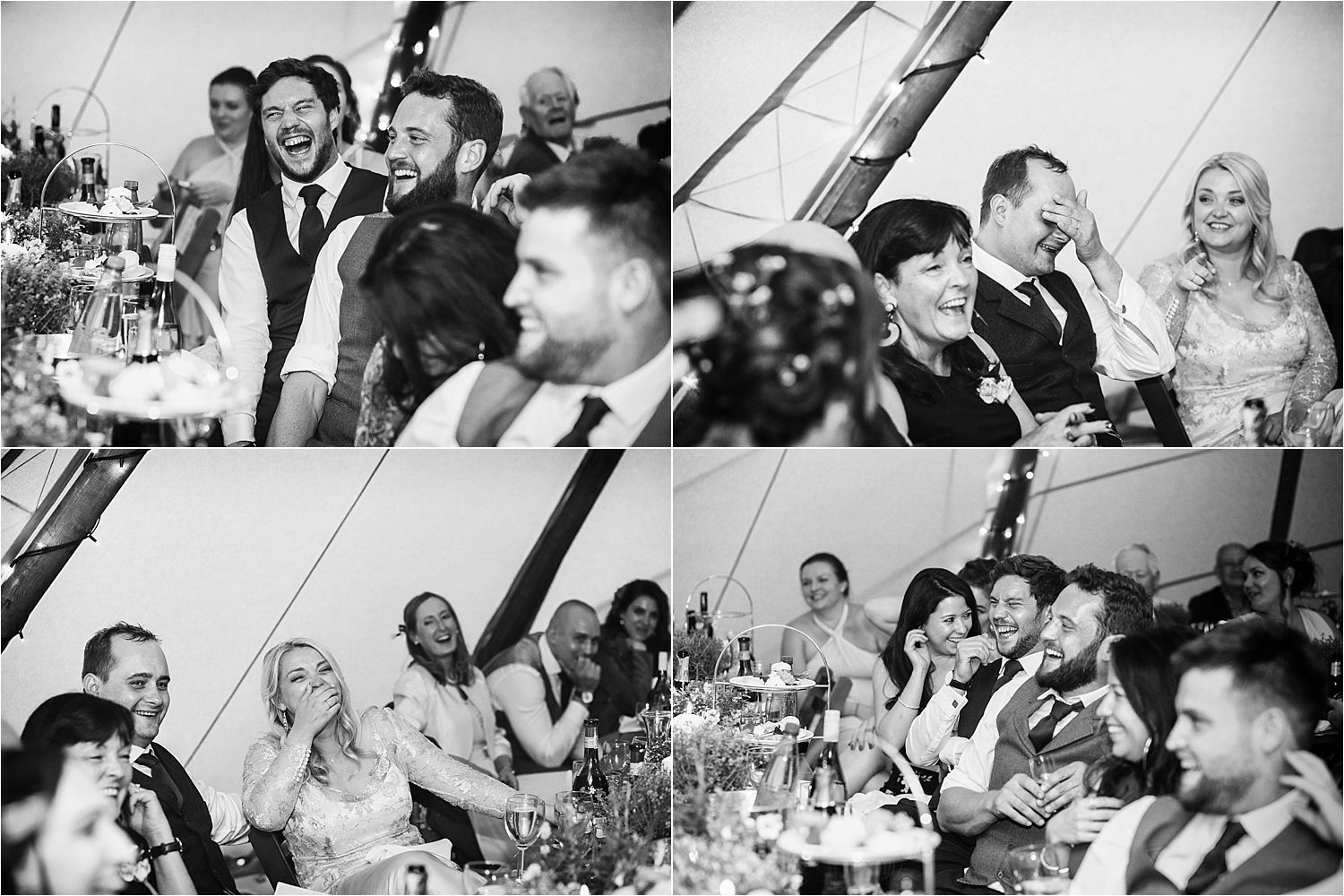Guests reacting to speeches at tipi wedding in Bedfordshire