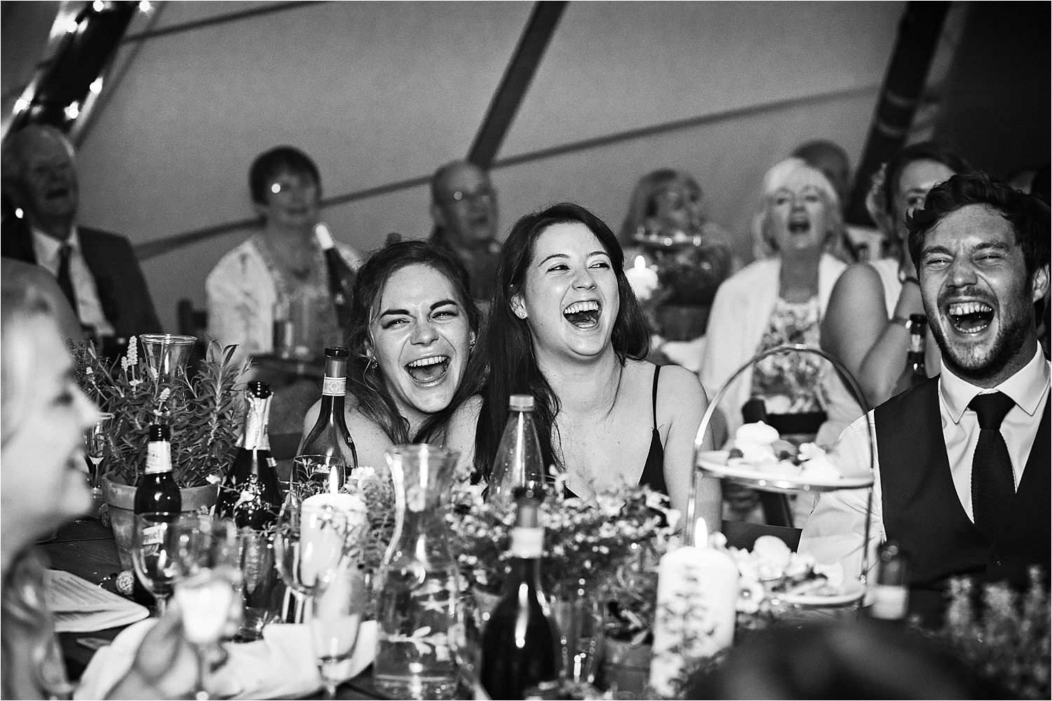 Bridesmaids reactions to speeches at Bedfordshire tipi wedding