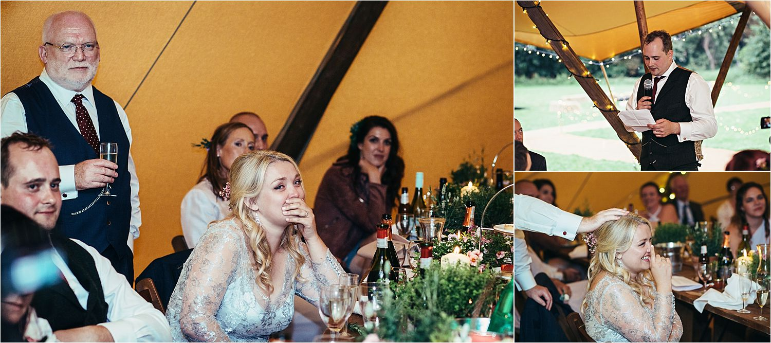 Groom's speech and bride's reactions at Bedfordshire tipi wedding