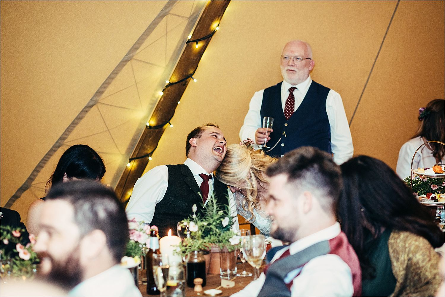 Reactions to speeches at Bedfordshire tipi wedding