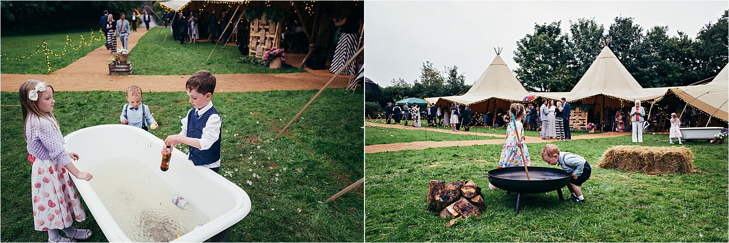 Children playing at Bedfordshire tipi wedding