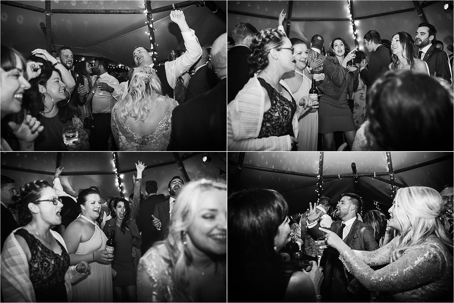 Guests enjoying dancing at evening reception in Country Tipis wedding tipi