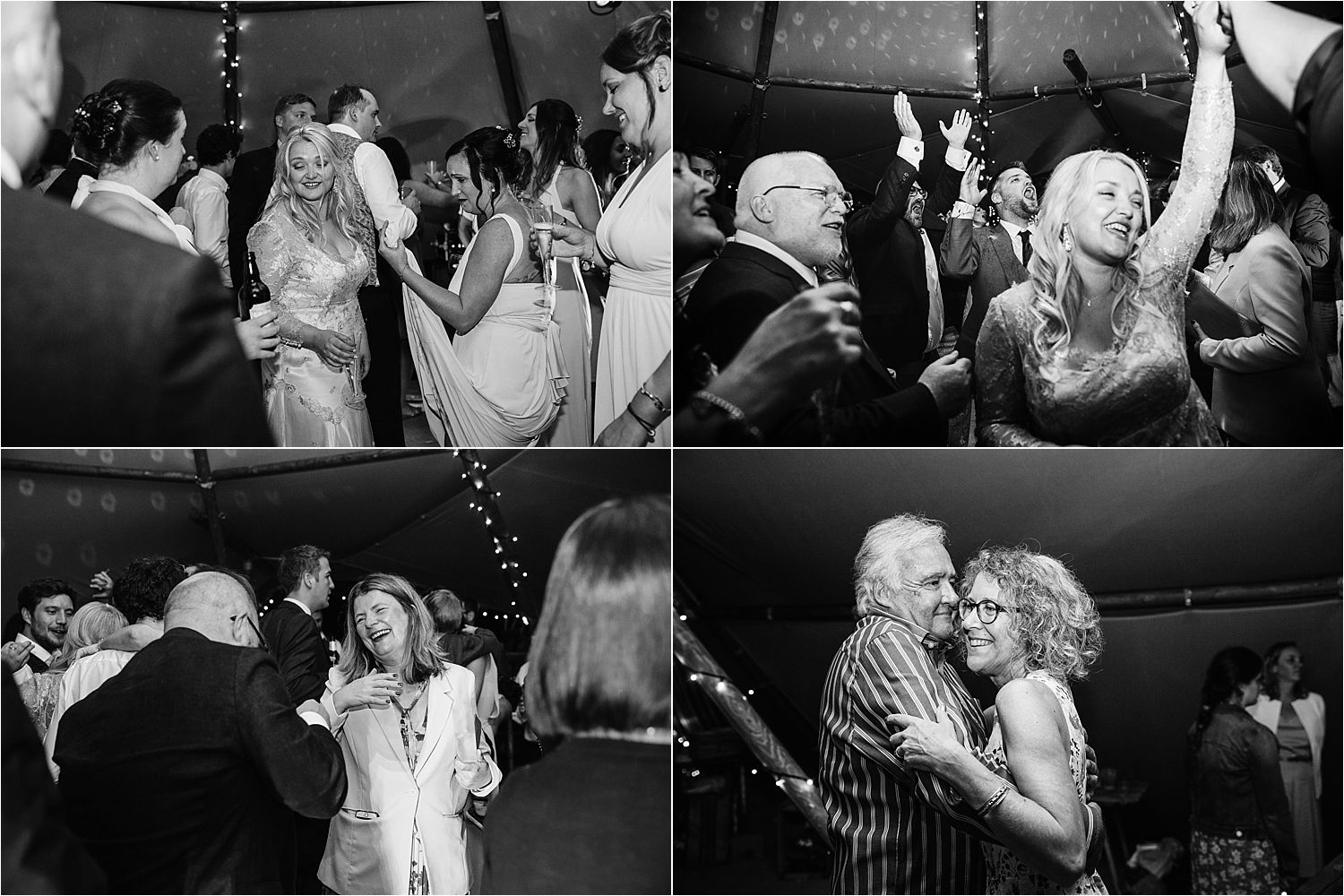 Wedding party in full swing in Bedfordshire tipi wedding