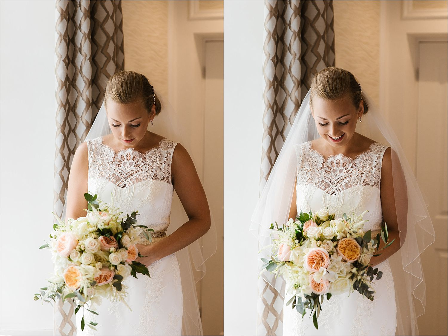 Bride with her wedding flowers - Dress by Augusta Jones at Mears Ghyll and bouquet by Brackens of Windermere