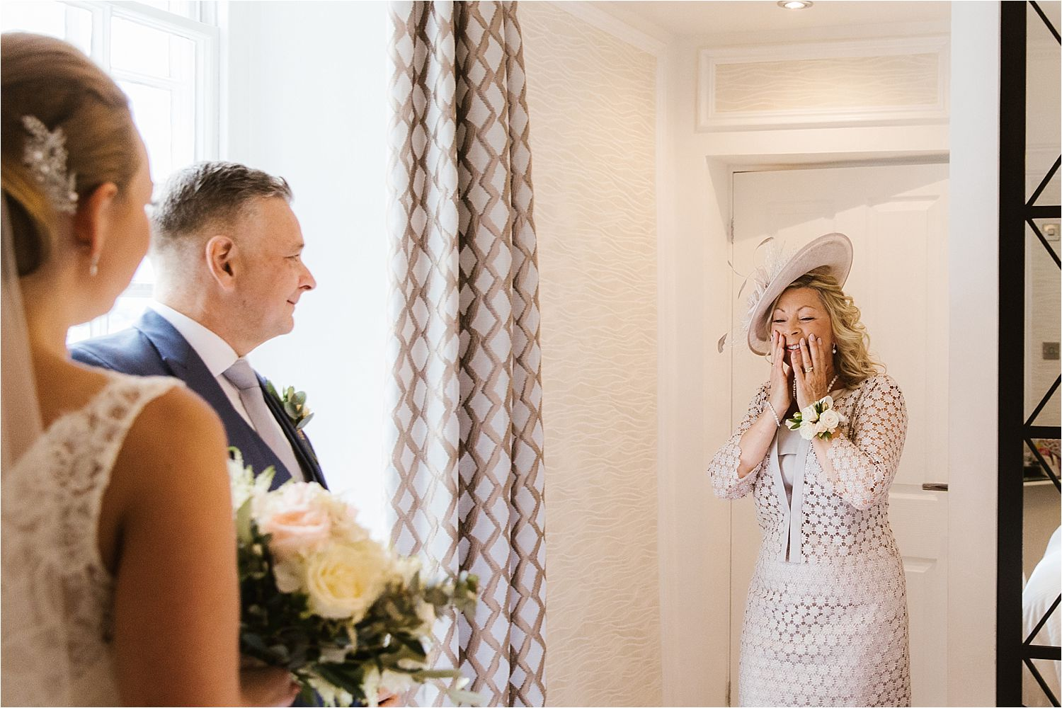 Reaction of bride's mum when she sees her daughter ready for her Low Wood Bay wedding