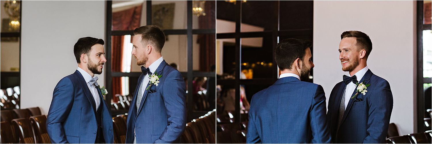 Bride groom and best man ready in their Whitfeild and Ward wedding suits