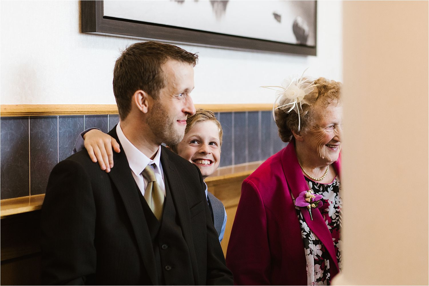 Smiling wedding guests at Low Wood Bay wedding