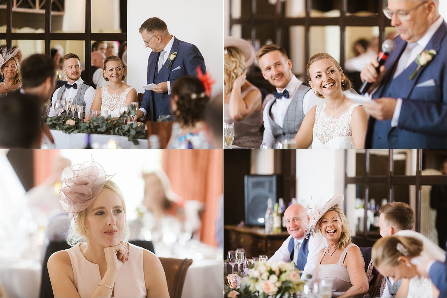 Guests enjoying speeches at Low Wood Bay wedding