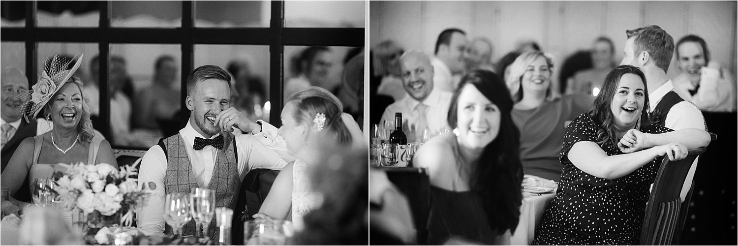 Guests reactions to speeches at Lake District wedding