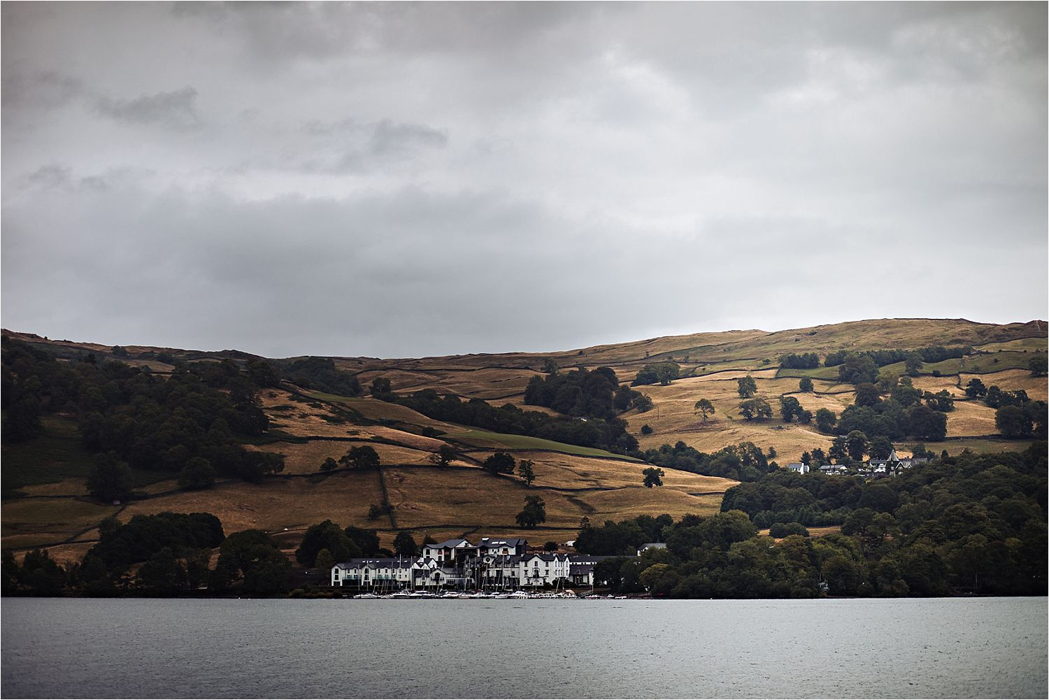 panoramic image of Low Wood Bay from the middle of Lake Windermere