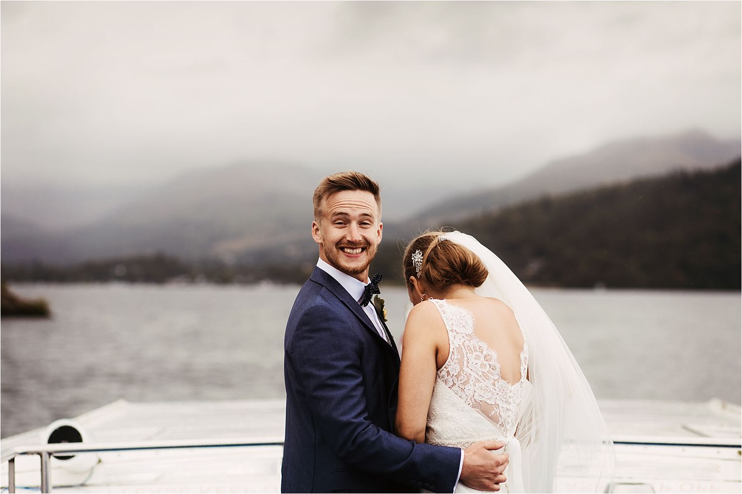 Wedding couple on board Lake Windermere cruise trip on the Lake