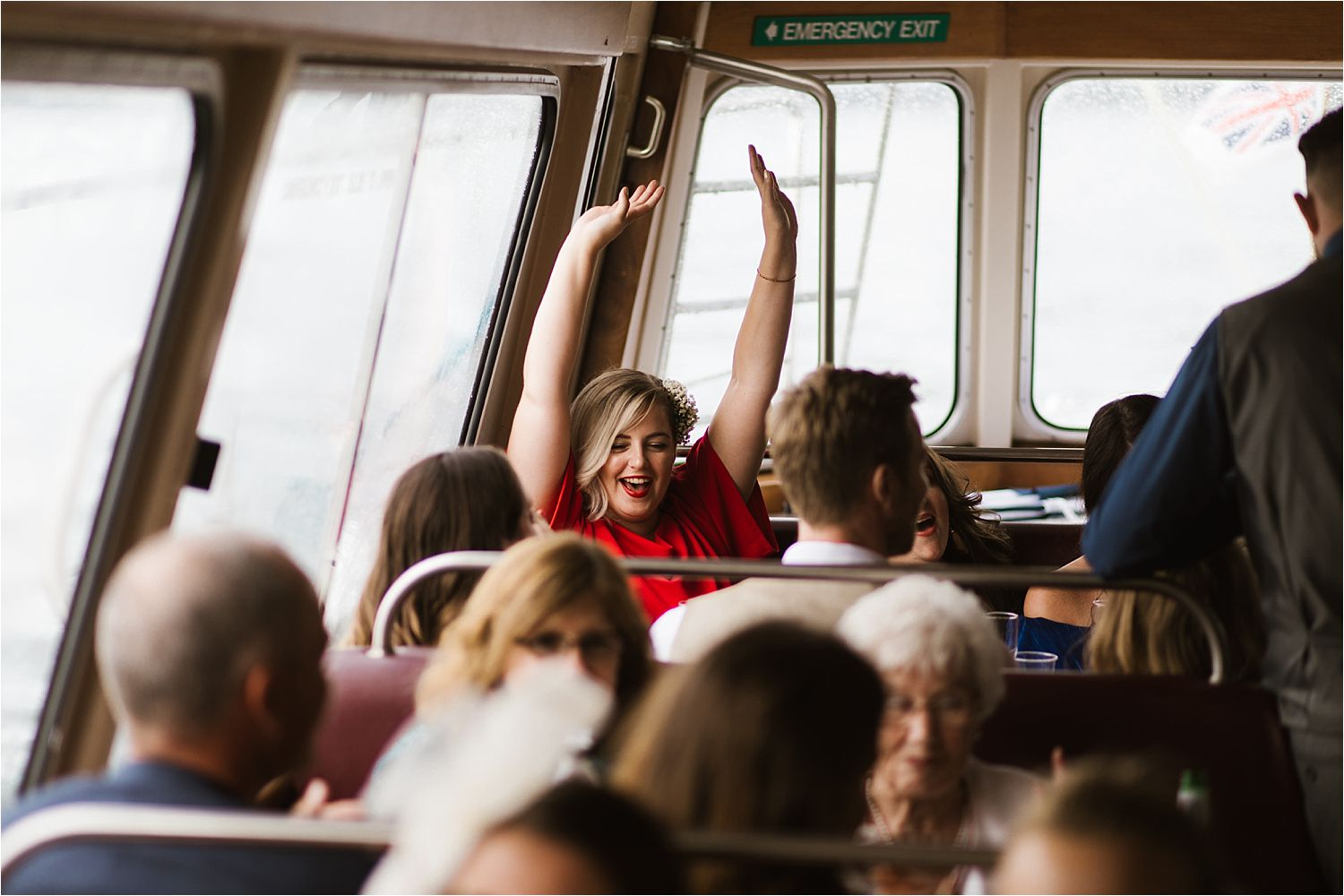 Lake District wedding guests enjoying their trip on board with Lake Winderemere cruises
