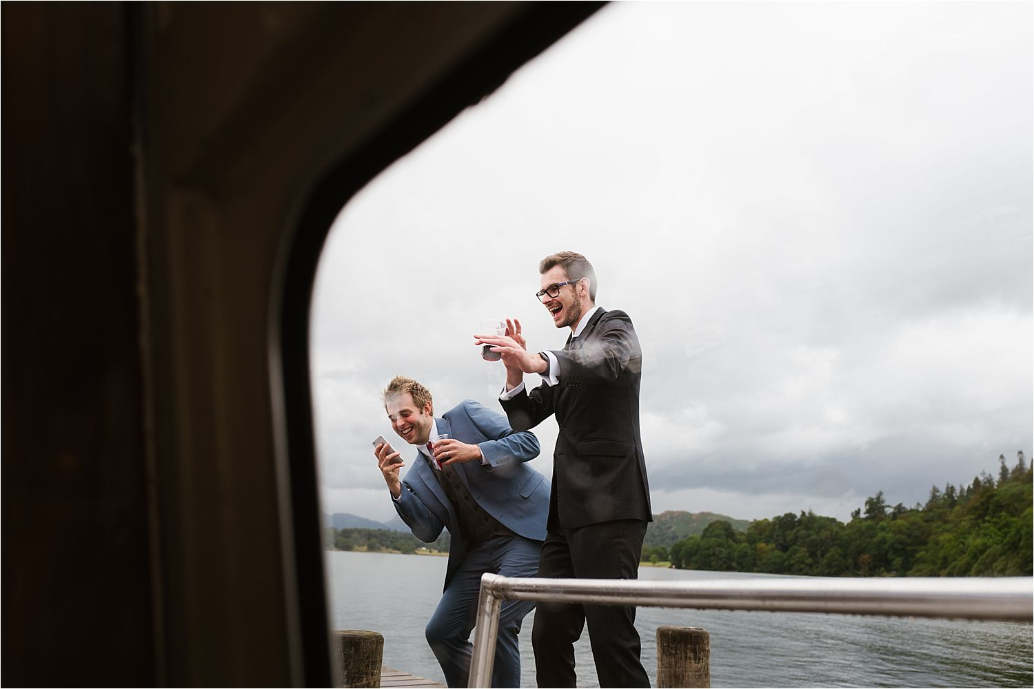 Wedding guests enjoying the party on board a Lake Windermere Cruisers boat trip in the Lake District