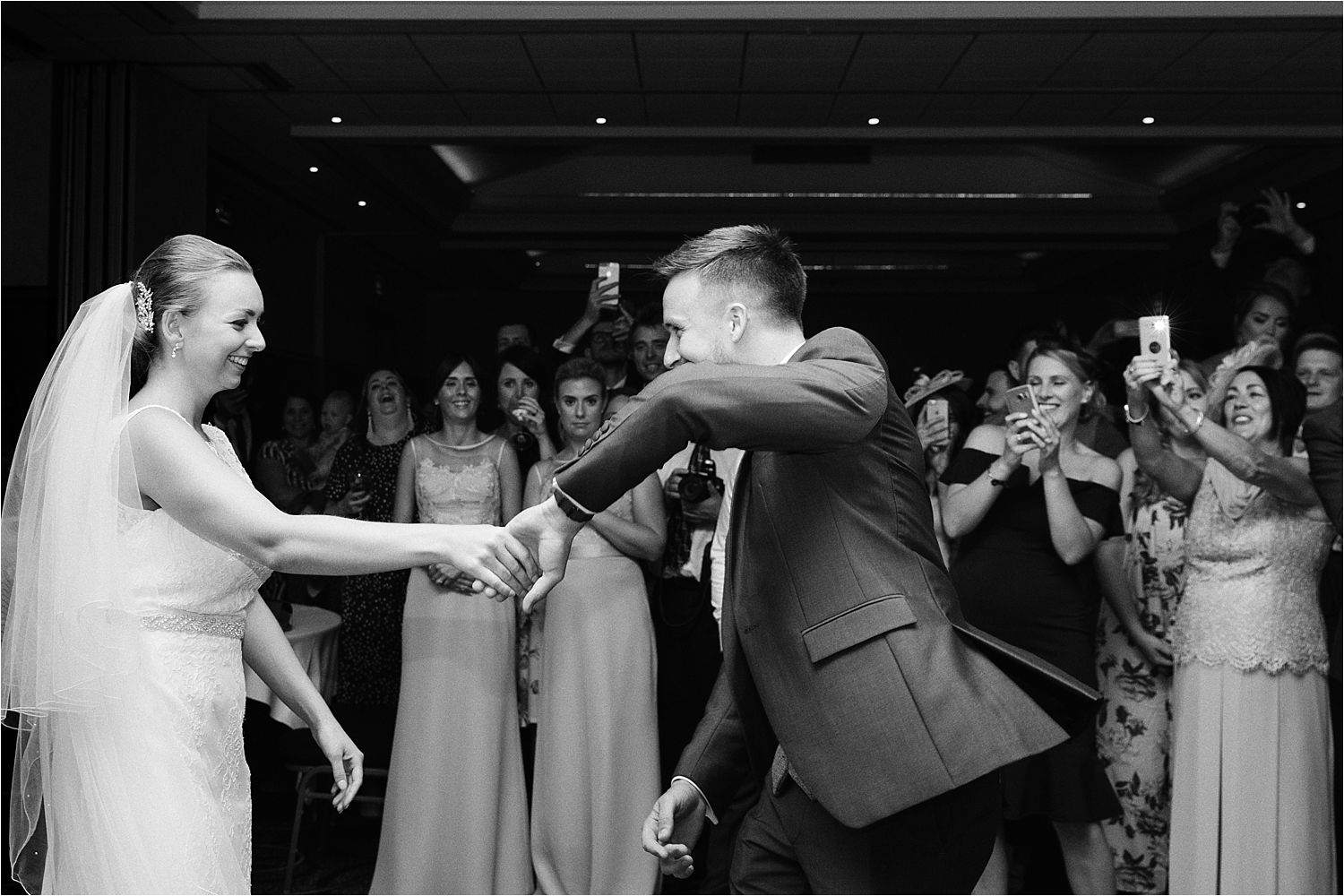 Bride and groom first dance at their eevening reception at Low Wood Bay in Windermere