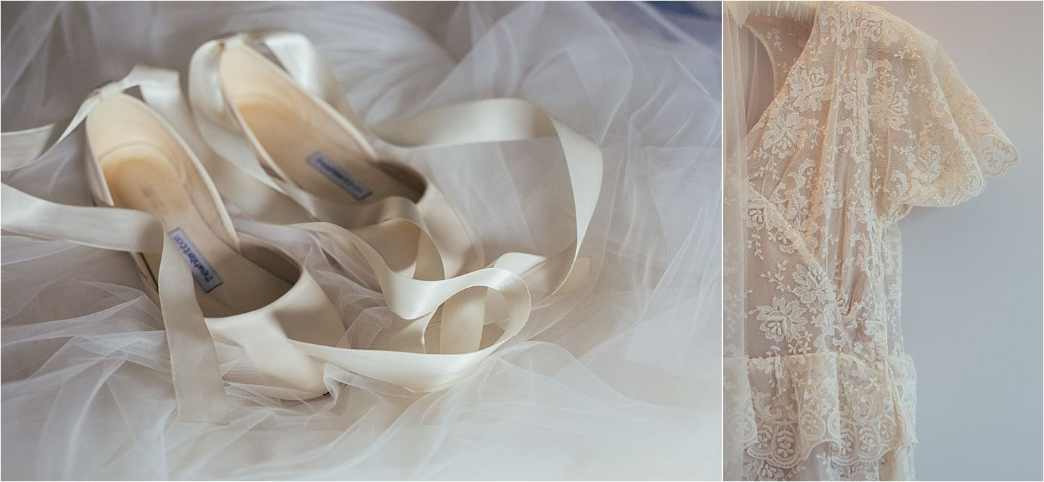 Wedding shoes and detail of wedding dress. Dress by Elizabeth Avey Vintage Bridal Wear