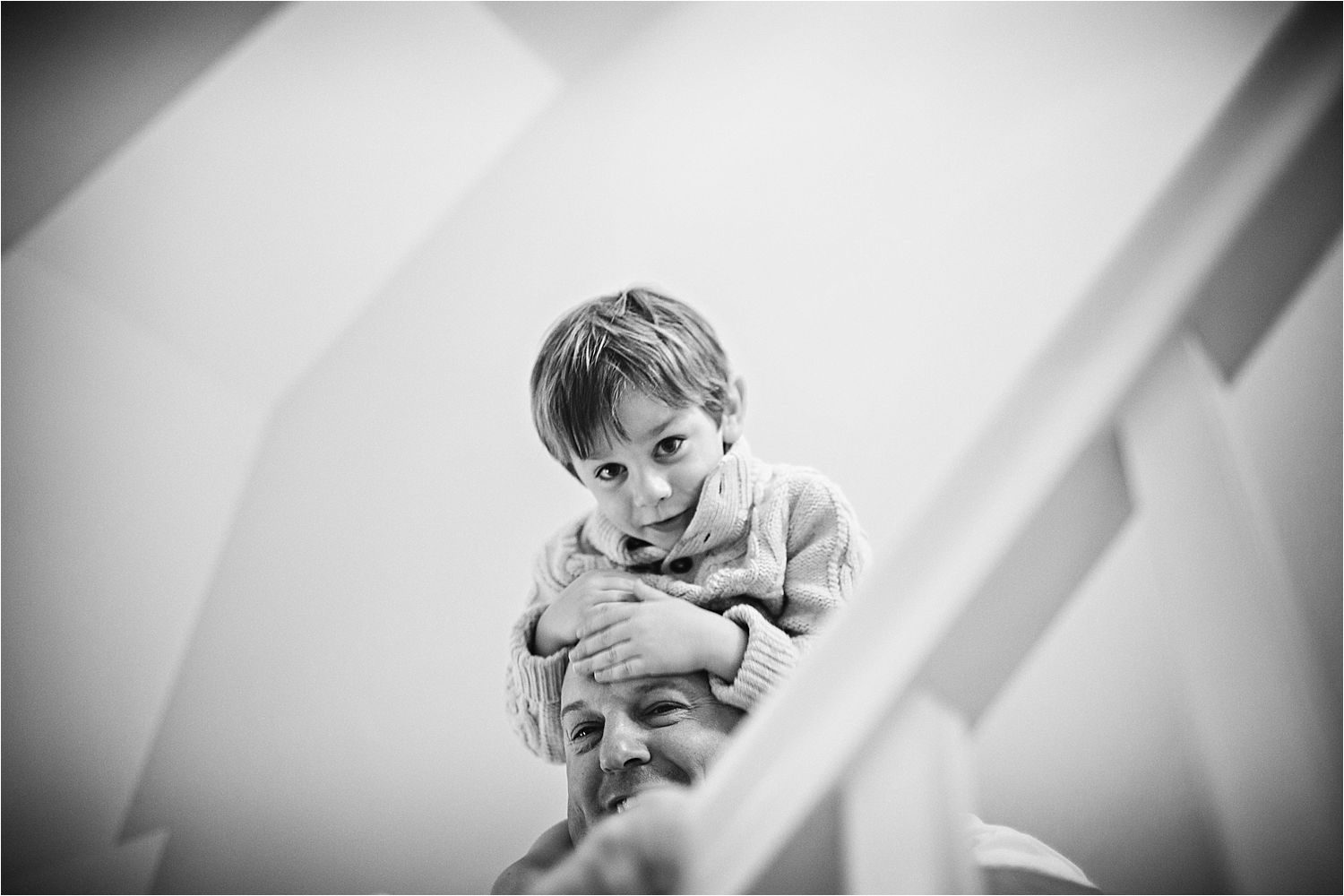 Little boy on his dad's shoulders prior to Manchester tipi wedding