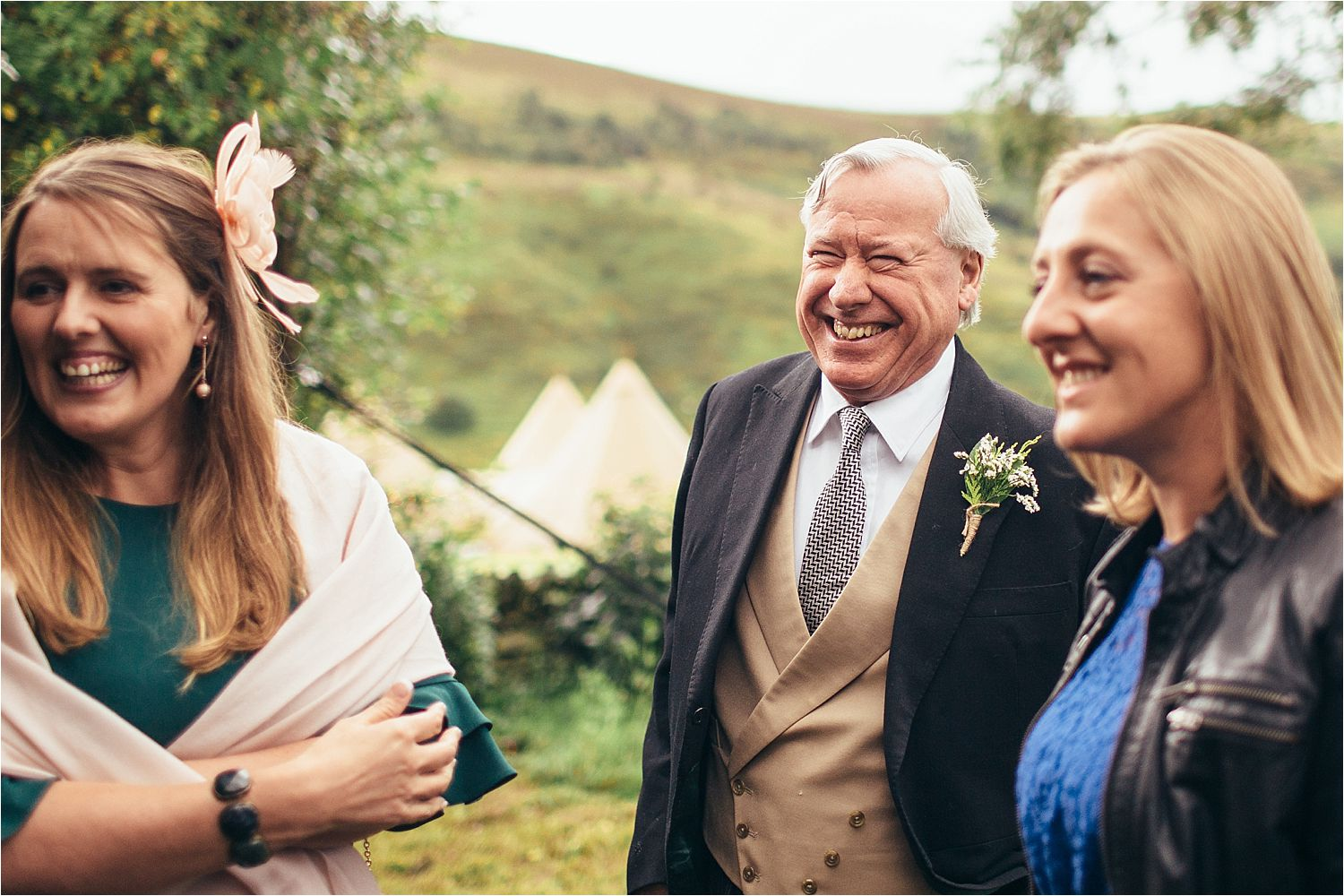 Guests chatting prior to Glossop tipi wedding