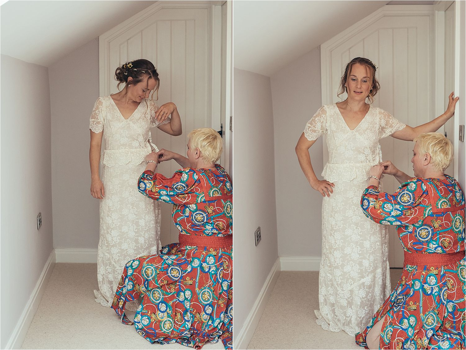 Bride being ziped into her Elizabeth Avey vintage wedding dress prior to Masnchester tipi wedding