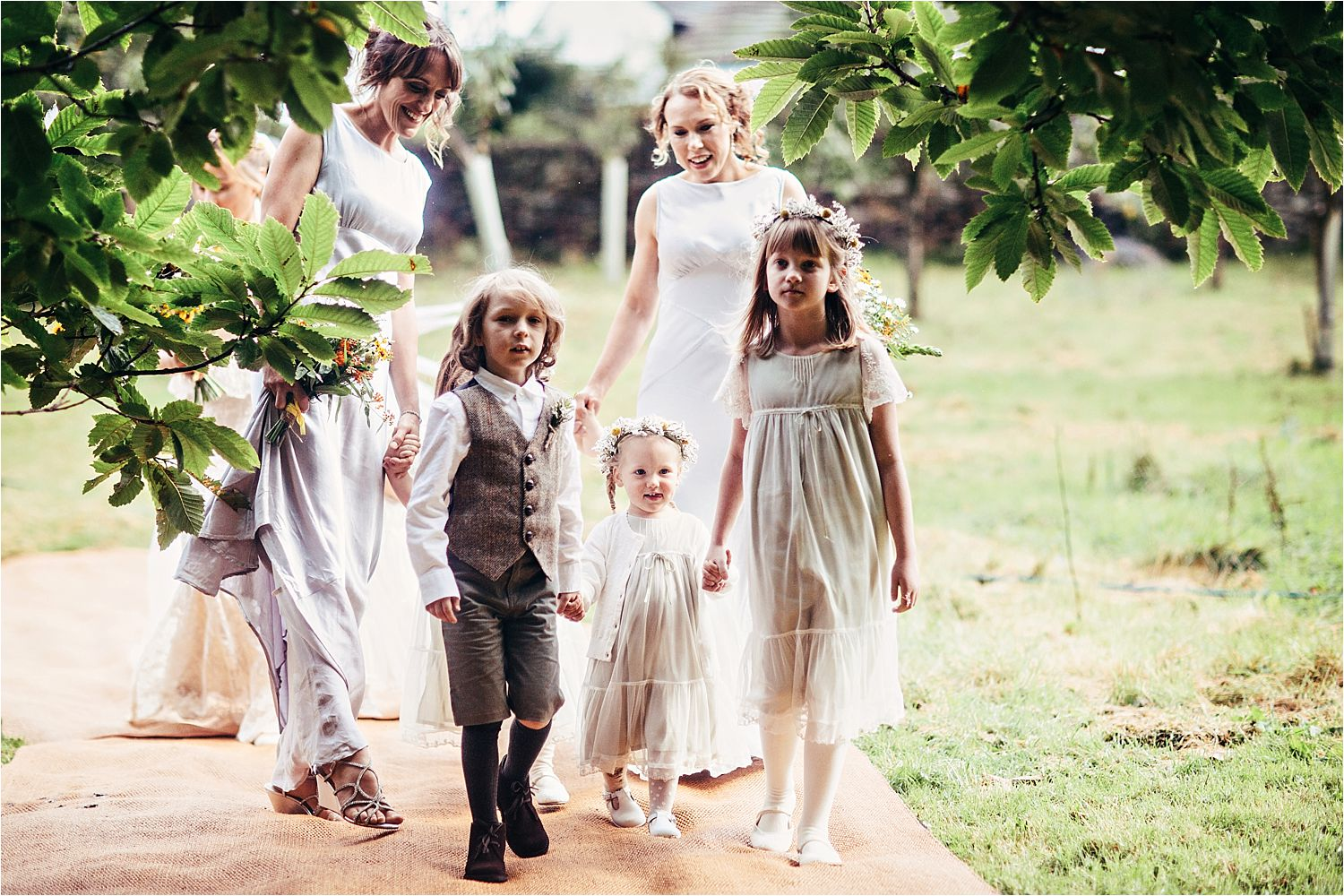 Bridesmaids and page boys arriving at Manchester tipi wedding