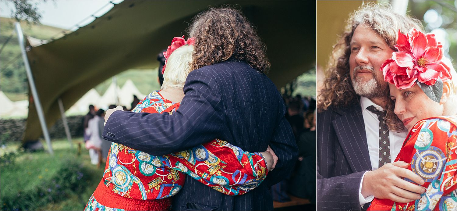 Couple embrace prior to Manchester tipi wedding ceremony