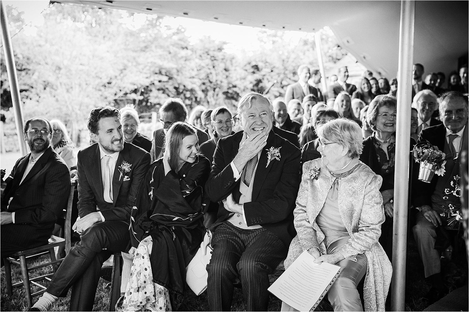 Guests reaction to exchange of vows at Glossop tipi wedding