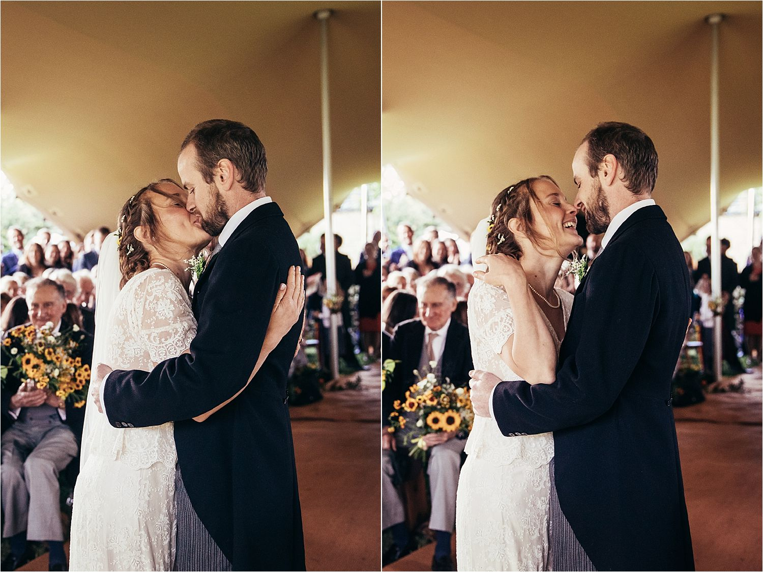 Husband and wife, first kiss in Big Chief Tipi wedding, Manchester