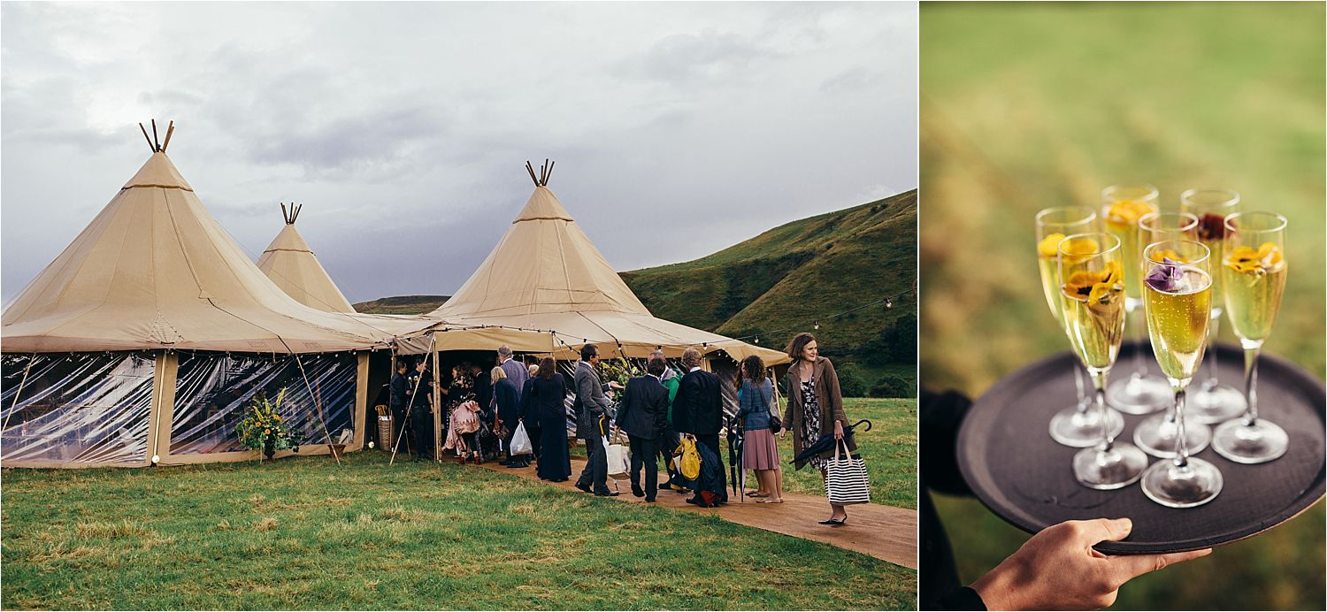 Exterior view of Big Chief Tipis and drinks tray at Glossop wedding. Caterers With a Twist