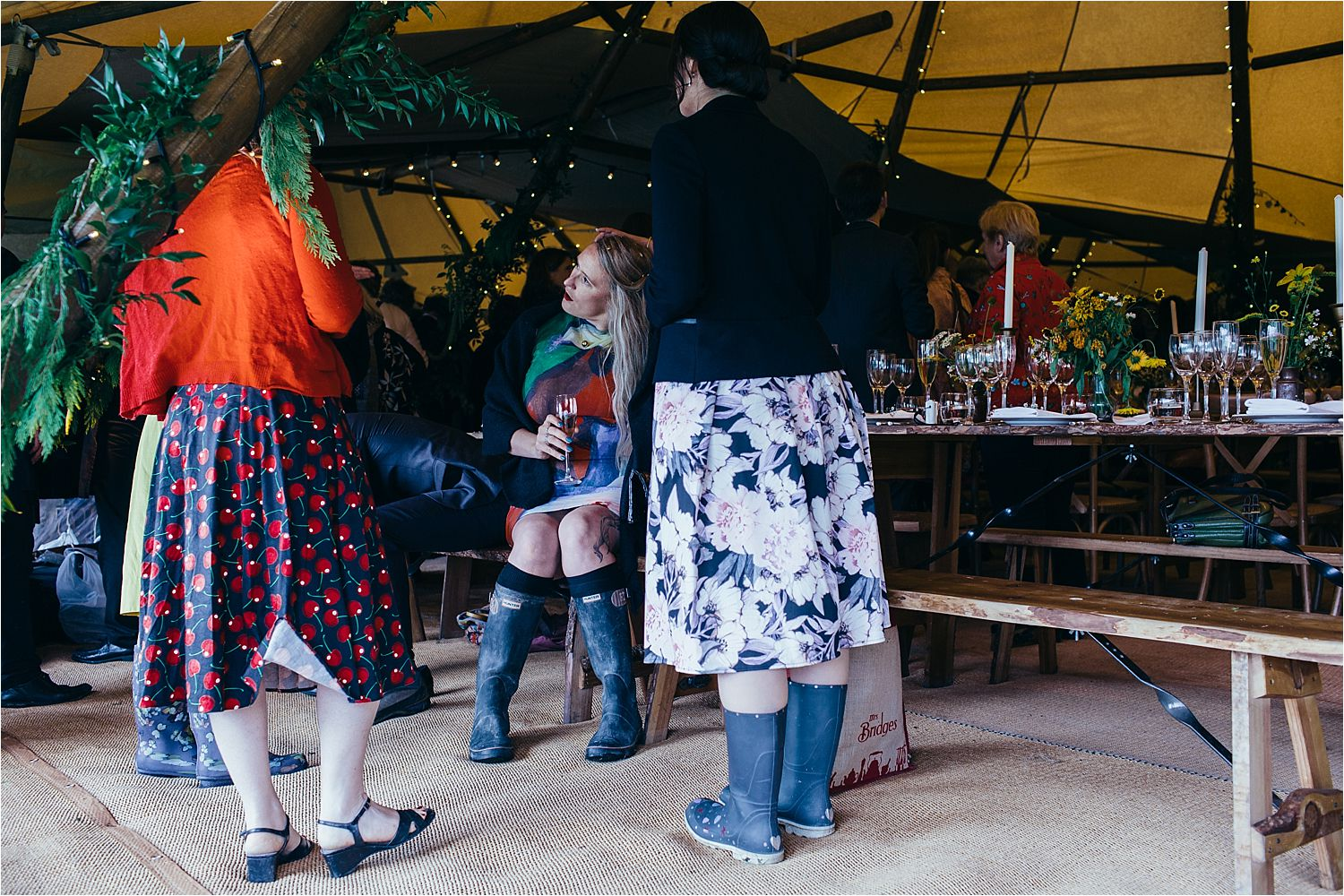 Guests in wellingtons at North West tipi wedding. Tipi by Big Chief Tipis