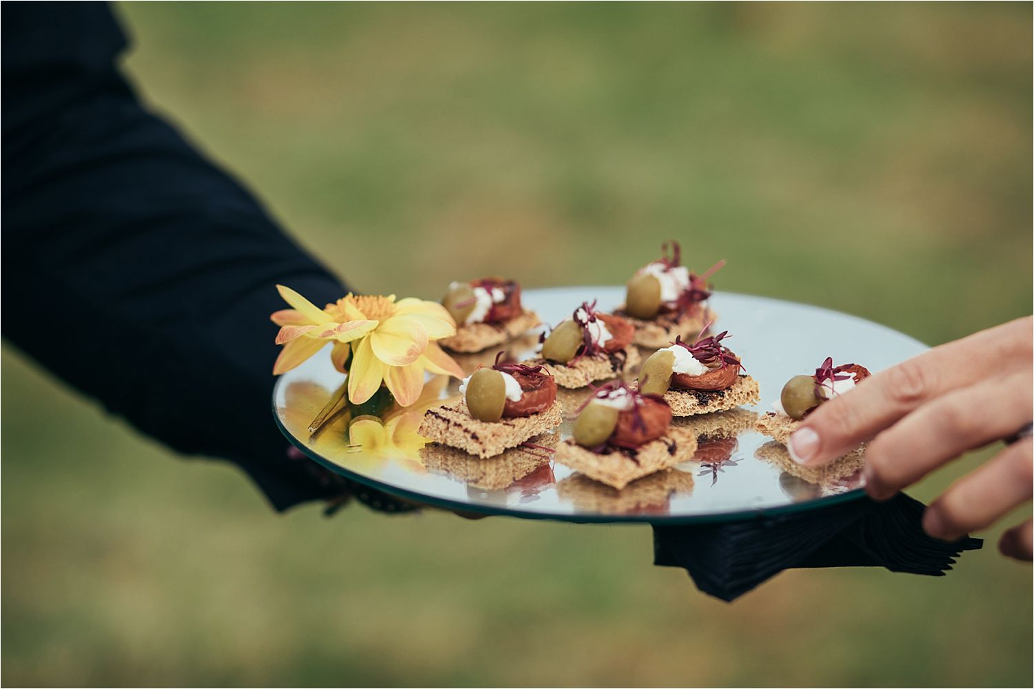 Canapes at Manchester tipi wedding, catering by With a Twist Caterers