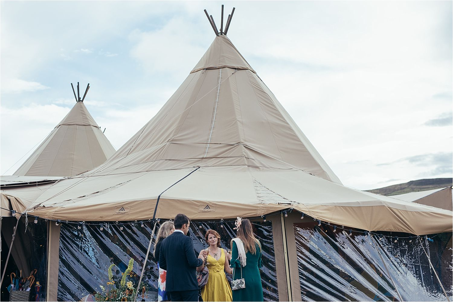 Exterior of tipi at Manchester wedding. Tipis by Big Chief Tipis of Bolton