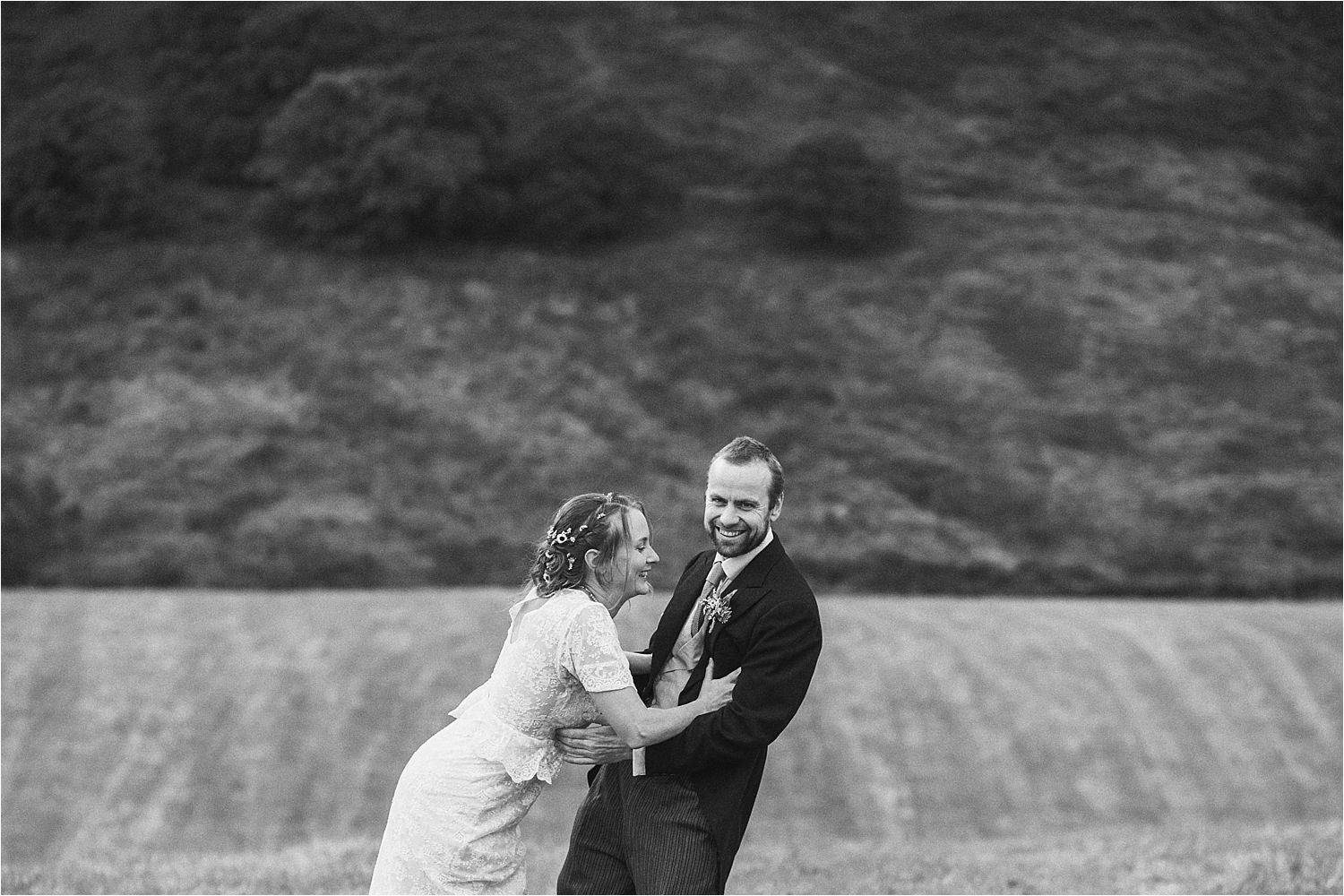 Bride and groom in rural North West wedding, Glossop
